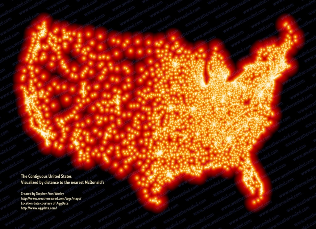 The Contiguous Us Visualized By Distance To The Nearest Mcdonald S Scary